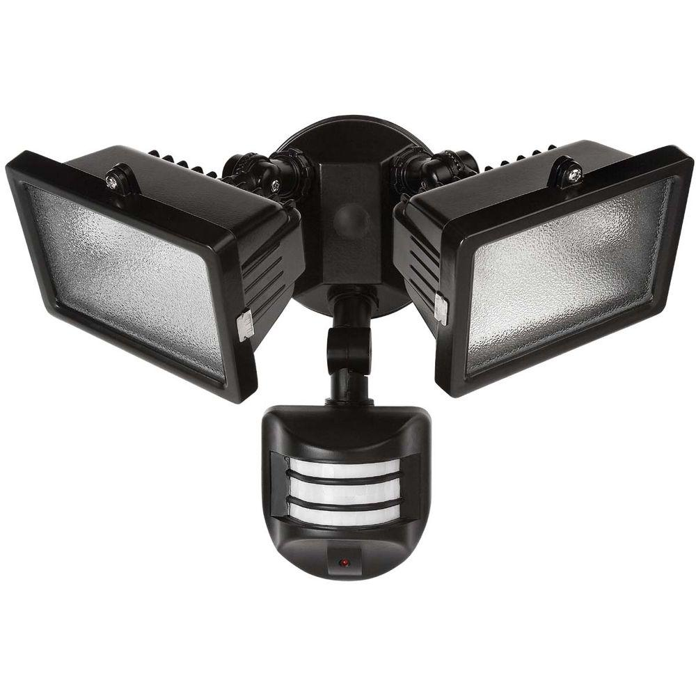 Outside Halogen Wall Lights : Globe Electric 240 Degree 300-Watt Outdoor Halogen Black Motion Sensor Flood Wall Light Fixture ...