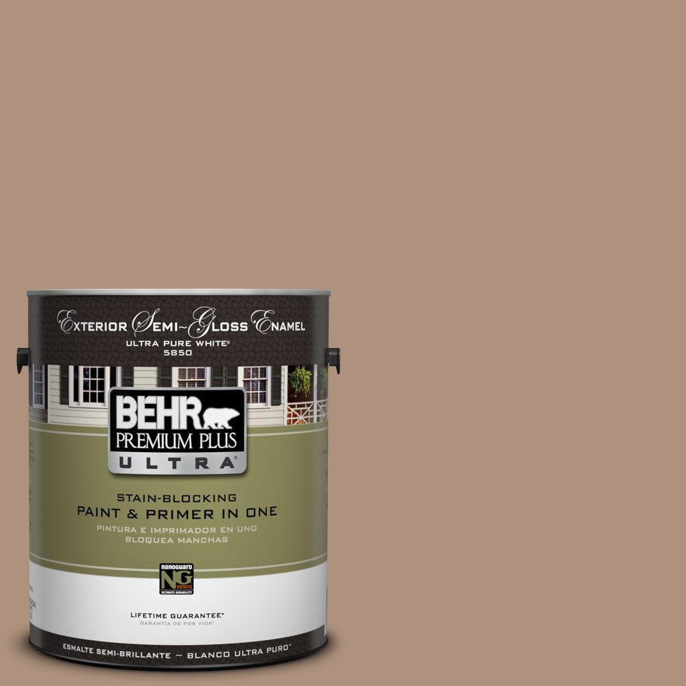 BEHR Premium Plus Ultra 1-Gal. #UL140-8 Soft Chamois Semi-Gloss Enamel Exterior Paint