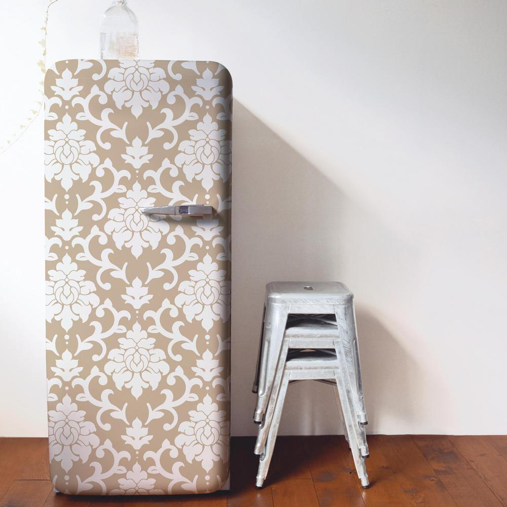 RoomMates 28.18 sq. ft. Gold Damask Peel and Stick Wall ...