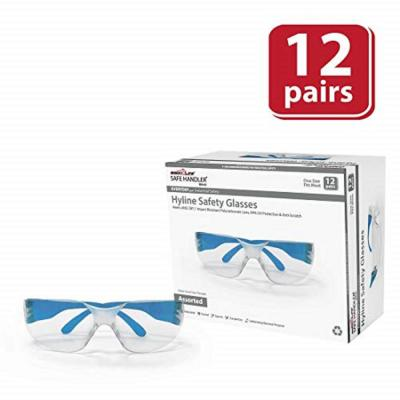 Hyline Safety Glasses : Clear Lens Color Temple,  Anti-Scratch, 12-Pairs 12-Assorted Colors (1 Box)