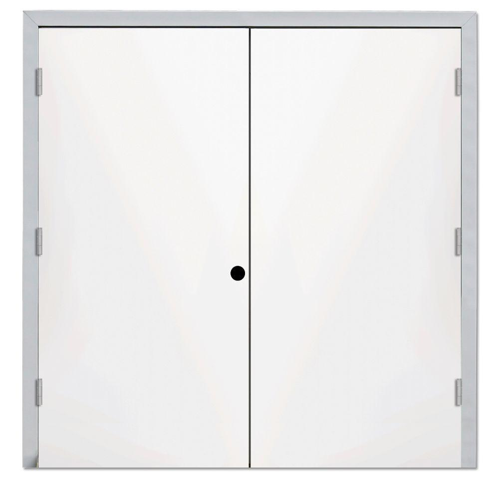 Steves & Sons 72 in. x 80 in. Garden Shed White Right-Hand Outswing Primed Steel Prehung Front Door