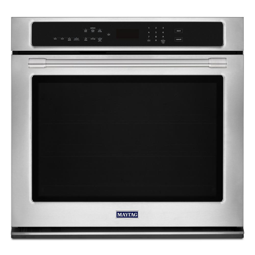 27 in. Single Electric Wall Oven with True Convection in Fingerprint