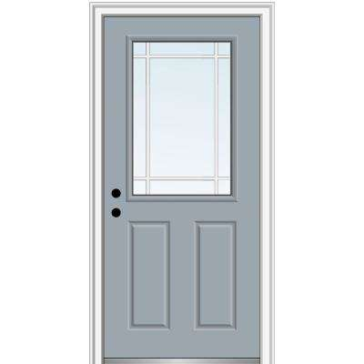 32 in. x 80 in. Prairie Internal Muntins Right-Hand Inswing 1/2-Lite Clear 2-Panel Painted Steel Prehung Front Door