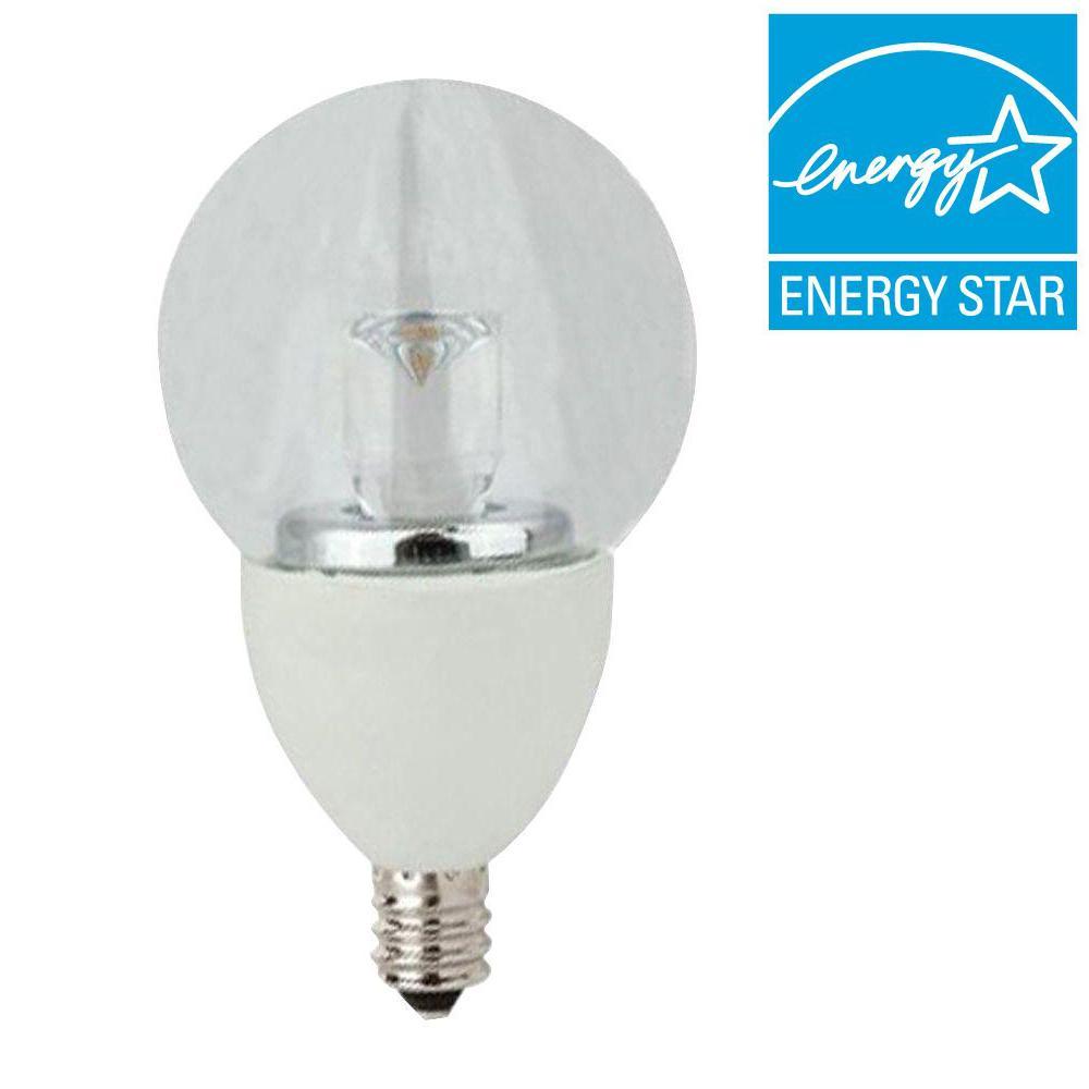 40W Equivalent Soft White (2700K) G16 Clear Candelabra Dimmable LED Light Bulb (2-Pack)