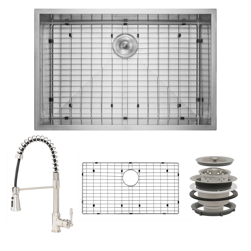 AKDY Handmade All-in-One Undermount Stainless Steel 33 in. x 22 in. Bottom Grid Spring Neck Faucet Single Bowl Kitchen Sink, Brushed Stainless Steel was $494.0 now $319.99 (35.0% off)