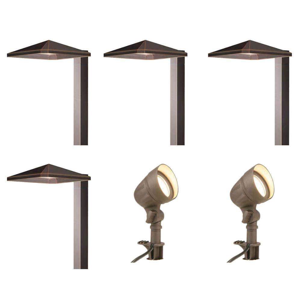 Hampton bay low voltage bronze outdoor integrated led landscape light kit with 2 flood lights and 4 path lights 6 pack iww6626l the home depot