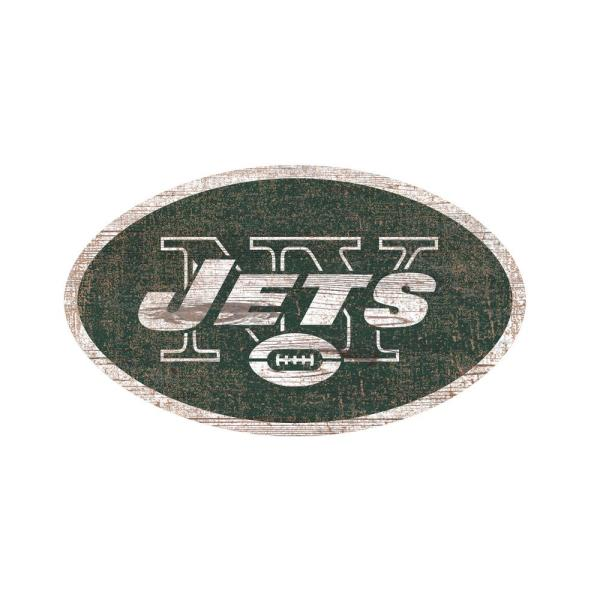 bc9ee4ae1 Adventure Furniture NFL Indoor New York Jets Distressed Logo Cutout Wood  sign