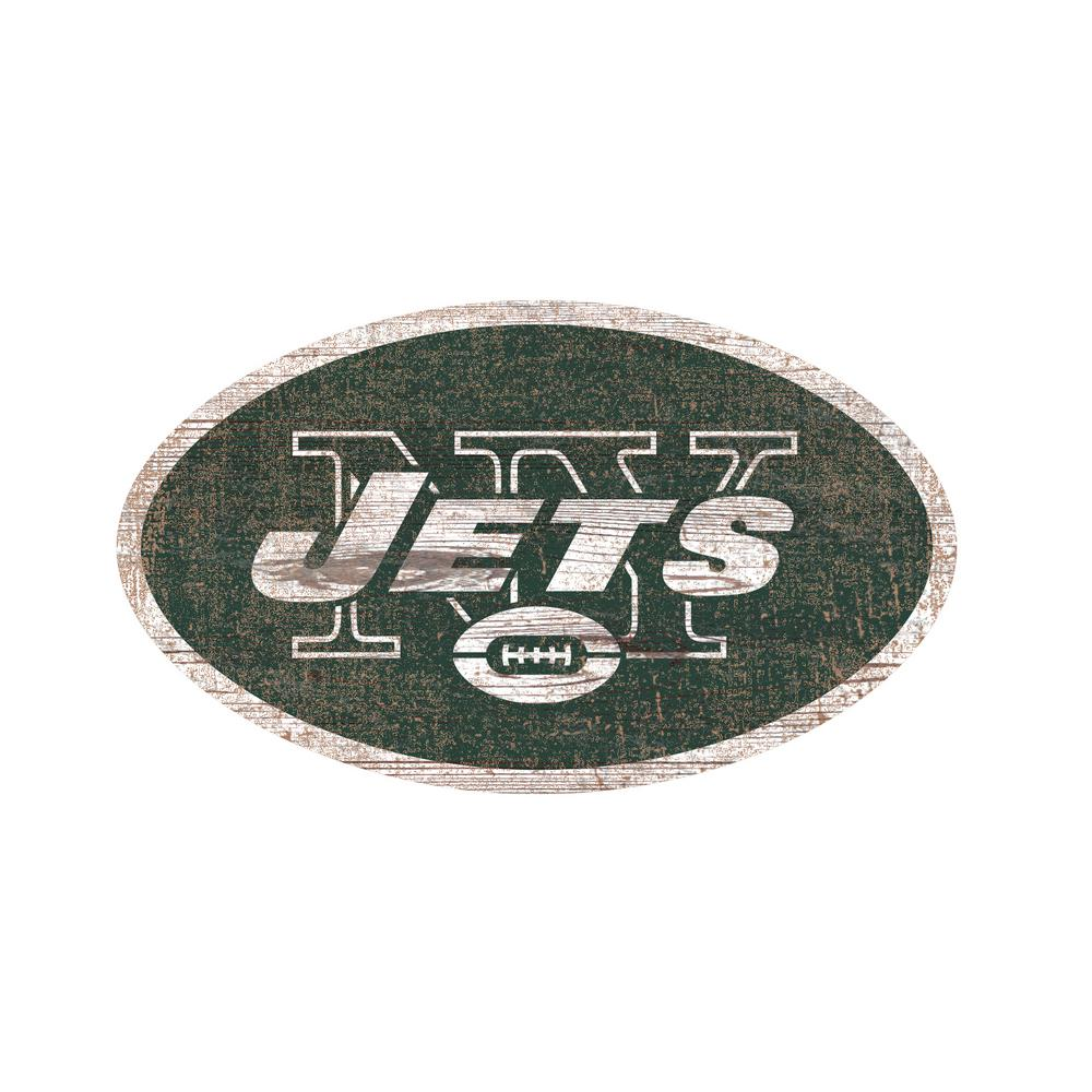 null nfl indoor new york jets distressed logo cutout wood sign