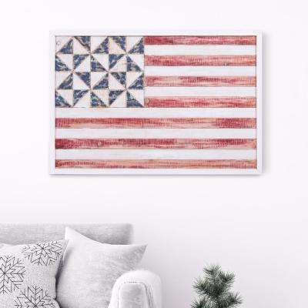 Geometric American Flag Framed Wooden Wall Art