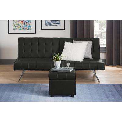 Emily Black Faux Leather Square Storage Ottoman