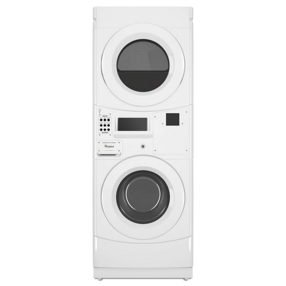 Whirlpool White Commercial Laundry Center with 3.1 cu. ft. Washer and 6.7 cu. ft. 120-Volt Gas Vented Dryer