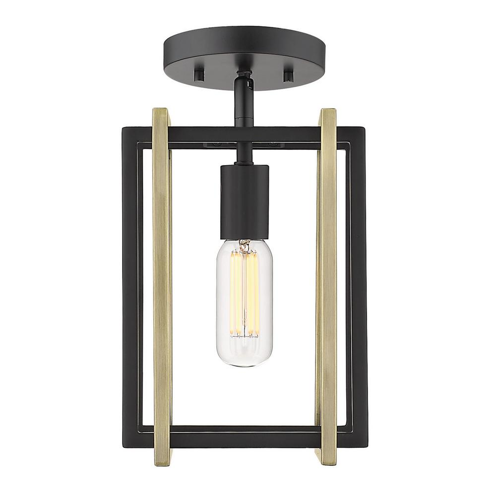 Golden Lighting Tribeca 7 25 In 1 Light Black With Aged Br Accents Semi Flush Mount