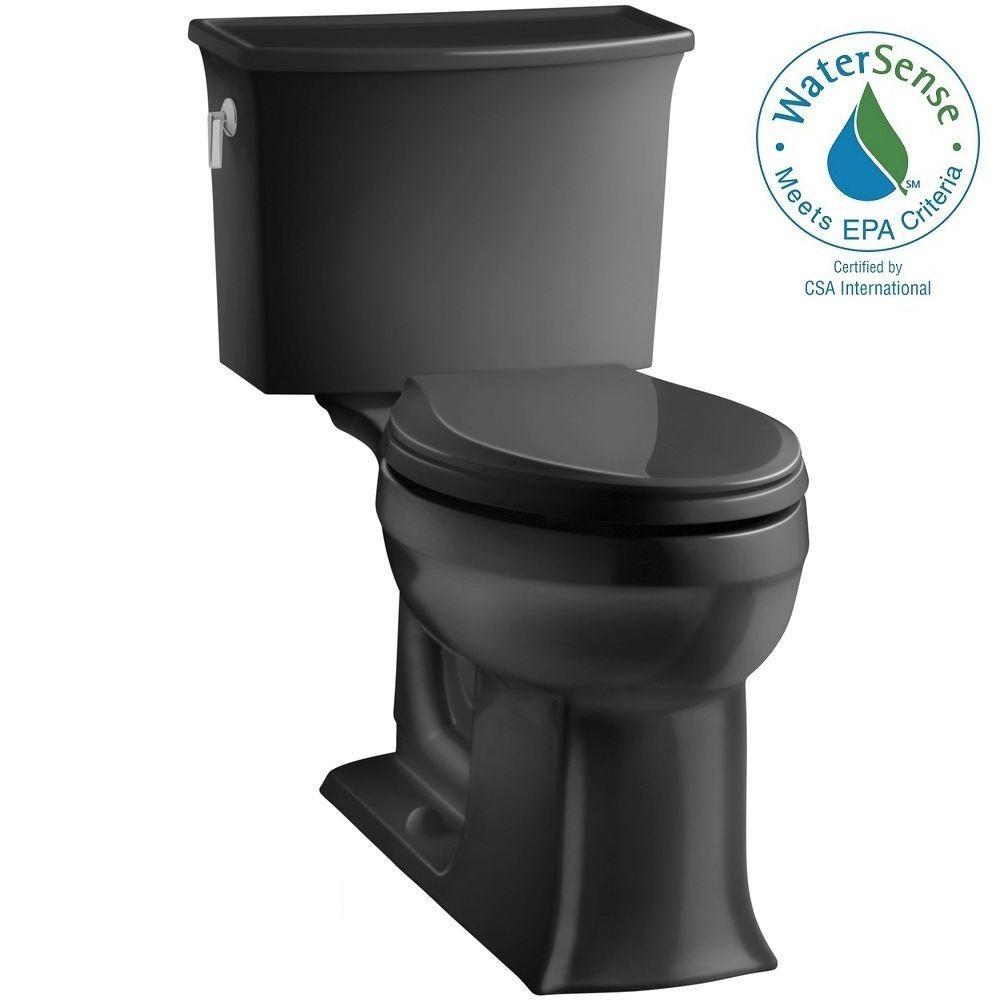 KOHLER Archer Comfort Height 2-piece 1.28 GPF Elongated Toilet with AquaPiston Flushing Technology in Black Black