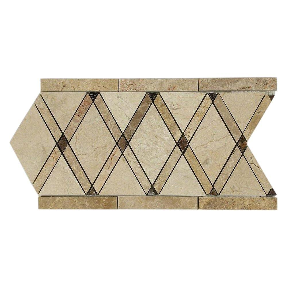 Ivy Hill Tile Grand Crema Marfil Border 6 in. x 12 in. x 10 mm Polished Marble Floor and Wall Tile