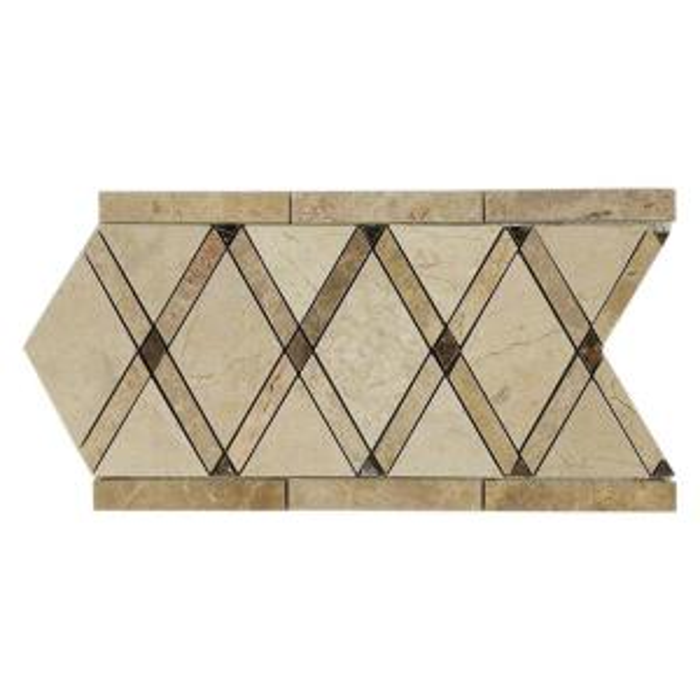 Splashback Tile Grand Crema Marfil Border 6 inch x 12 inch x 10 mm Polished Marble Floor... by Splashback Tile