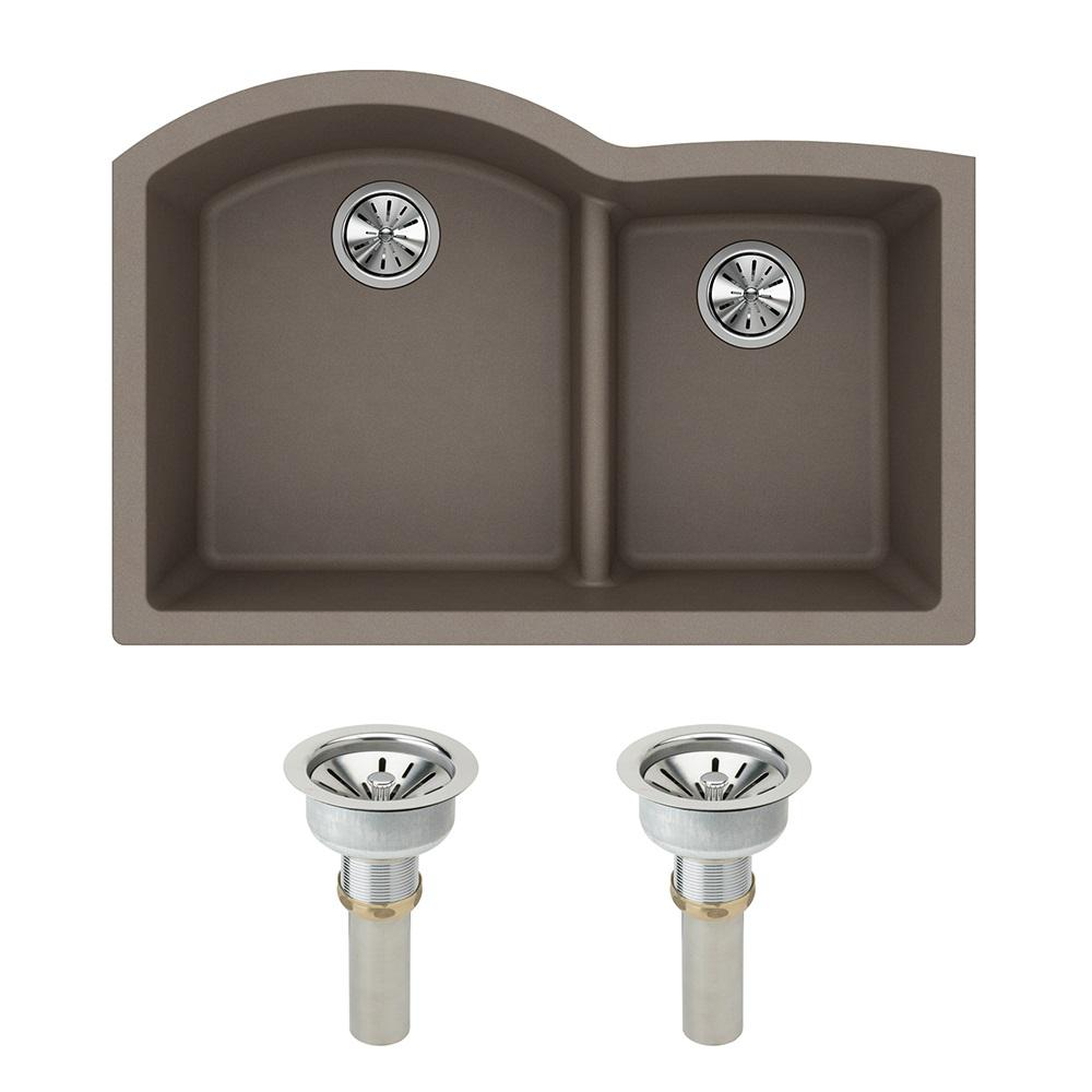 Elkay Quartz Classic Undermount Composite 33 In. Rounded Offset Double Bowl  Kitchen Sink In Greige