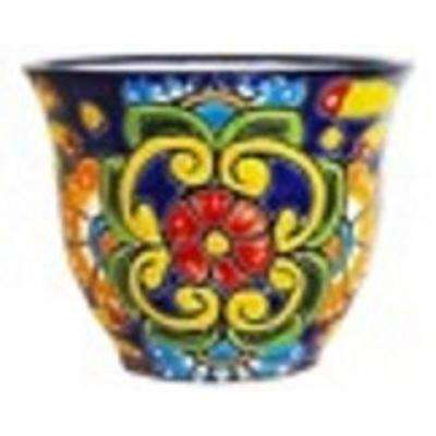 Talavera 9 in. Blue Floral Classic Ceramic Planter