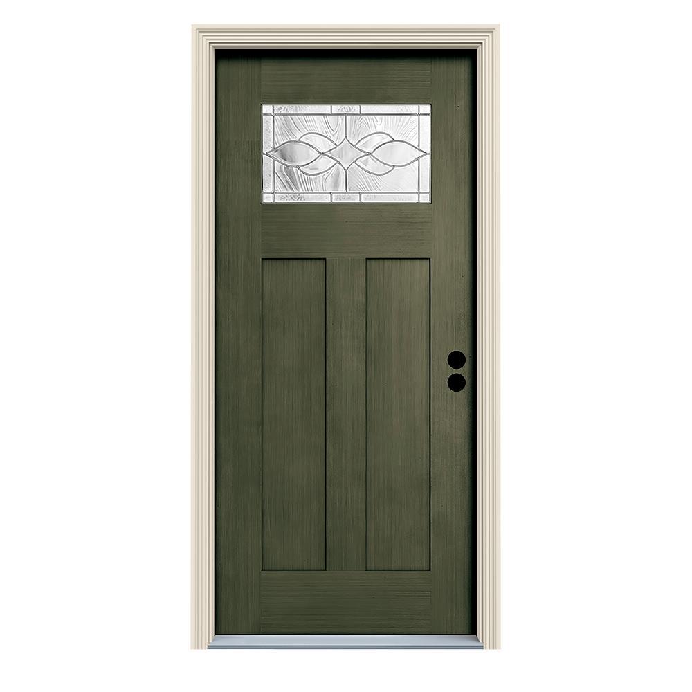 36 in. x 80 in. Juniper Left-Hand 1-Lite Craftsman Carillon Stained Fiberglass Prehung Front Door with Brickmould