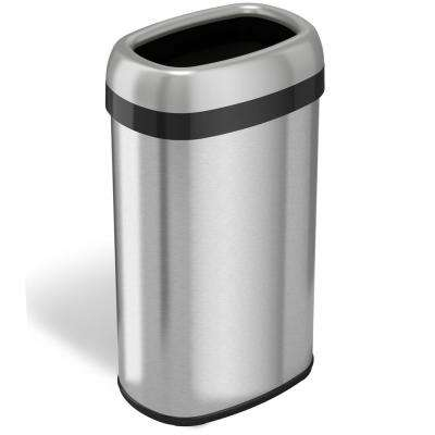 16 Gal., 12 in. Opening Commercial Grade Stainless Steel Dual-Deodorizer Oval Open Trash Can