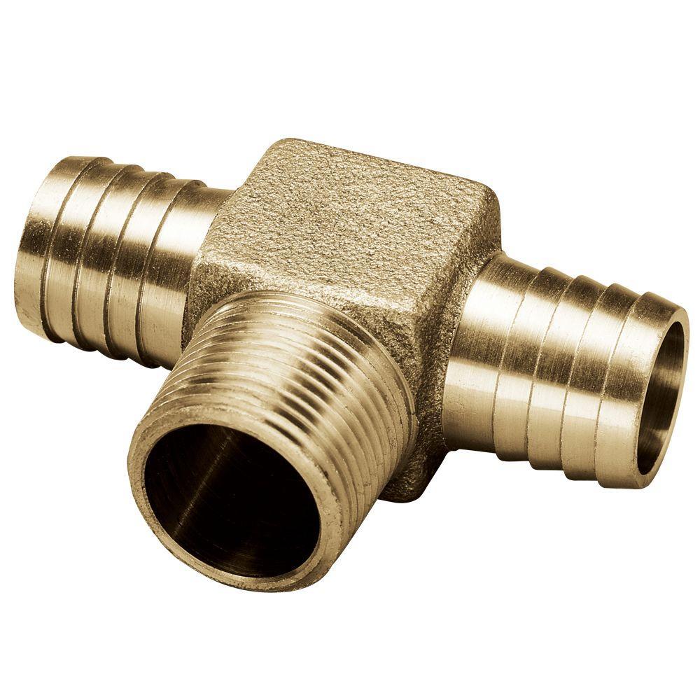 1 in. x 3/4 in. x 1 in. Brass Yard Hydrant Tee