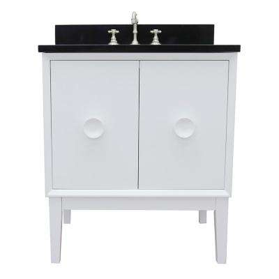 Stora 31 in. W x 22 in. D Bath Vanity in White with Granite Vanity Top in Black with White Oval Basin