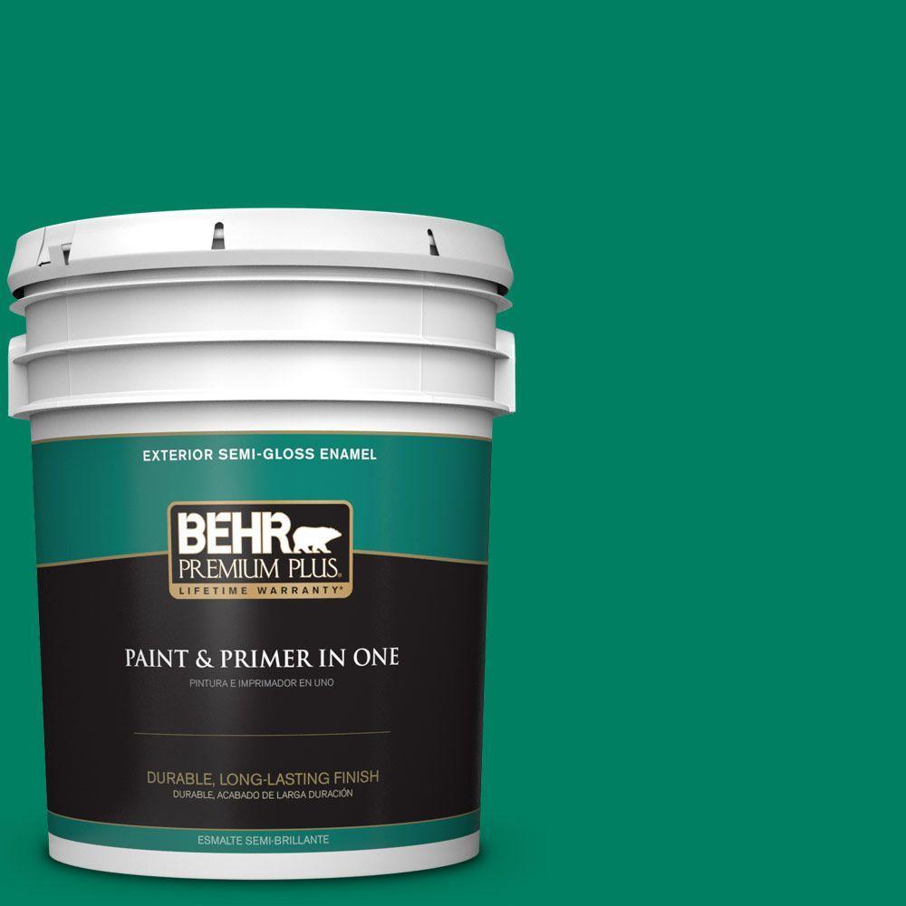 BEHR Premium Plus 5-gal. #480B-6 Treasure Isle Semi-Gloss Enamel Exterior Paint