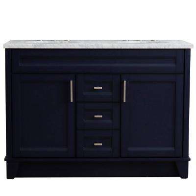 49 in. W x 22 in. D Double Bath Vanity in Blue with Marble Vanity Top in White Carrara with White Oval Basins