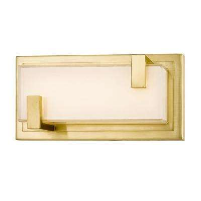 Verve 9-Watt Aged Brass Integrated LED Wall Sconce with Glass Shade