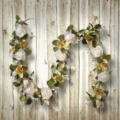 72 in. White Rose and Calla Lily Garland