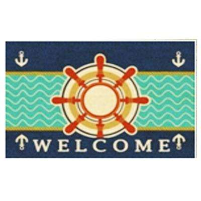 Nautical Wheel 24 in. x 36 in. Coir Mat