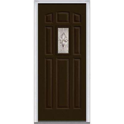 36 in. x 80 in. Heirloom Master Right-Hand Inswing 1-Lite Decorative Painted Fiberglass Smooth Prehung Front Door