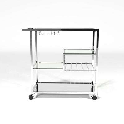 Daves Chrome Serving Cart with Stemware Rack