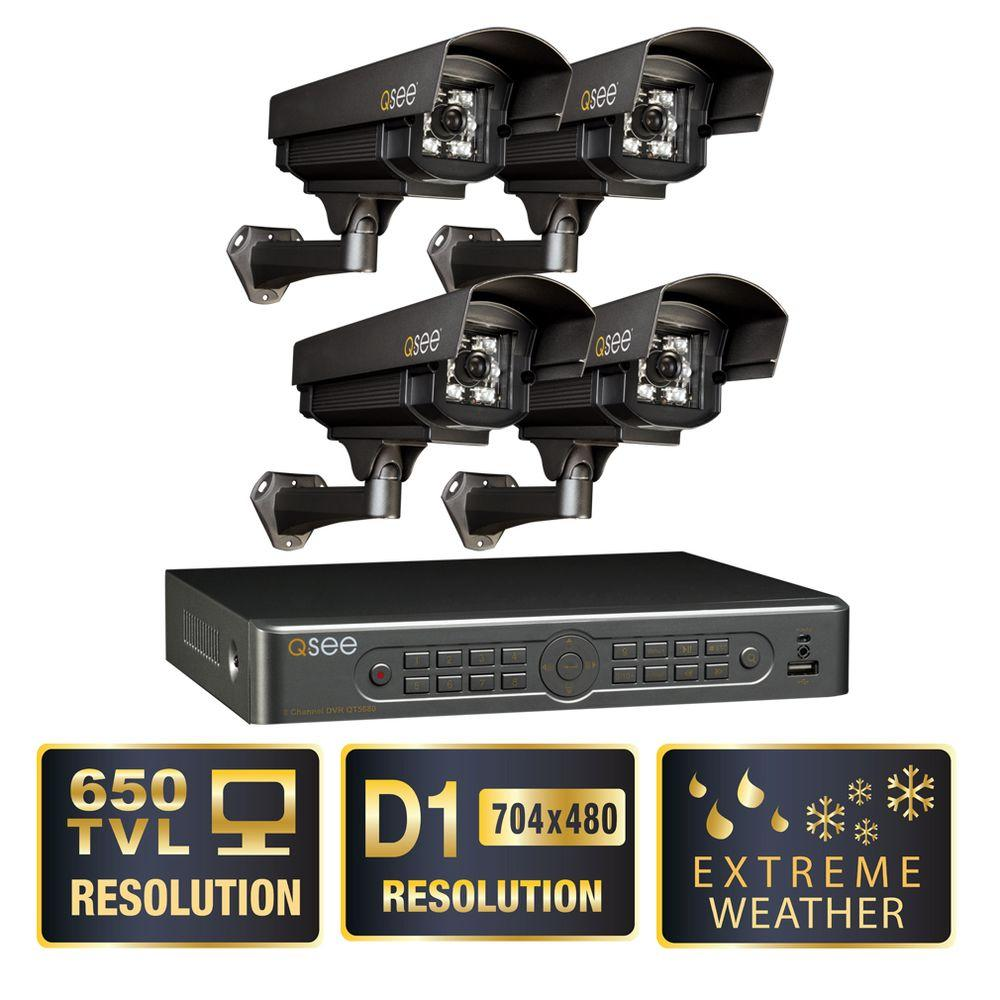 Q-SEE Elite Series 8-Channel Full D1 1TB Surveillance System with (4) Extreme Weather 650 TVL Cameras, 120 ft. Night Vision