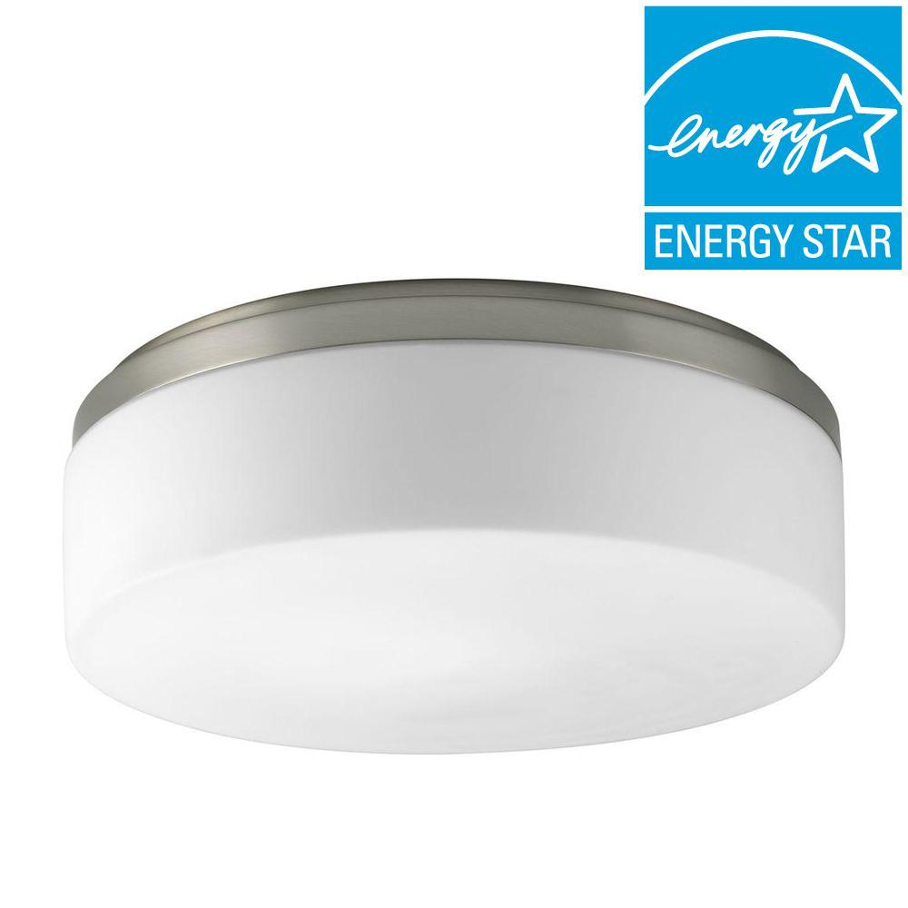 Maier Collection 2-Light Brushed Nickel Flushmount with Opal Etched Glass