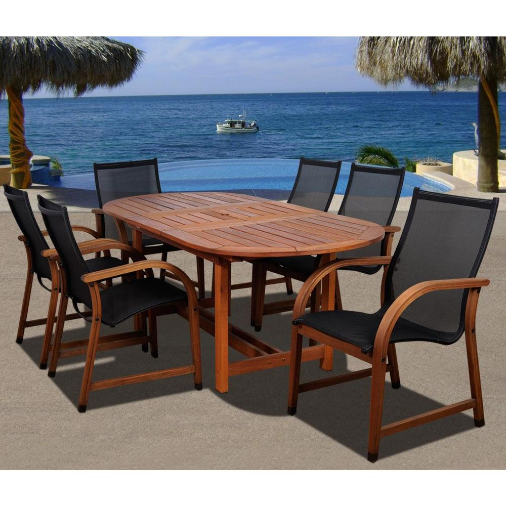 Amazonia Bahamas Oval 7 Piece Eucalyptus Patio Dining Set
