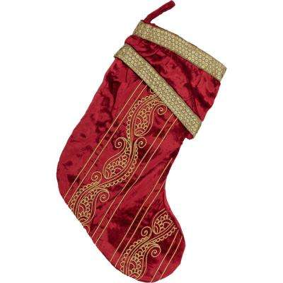 15 in. Viscose Yule Christmas Red Glam Decor Stocking