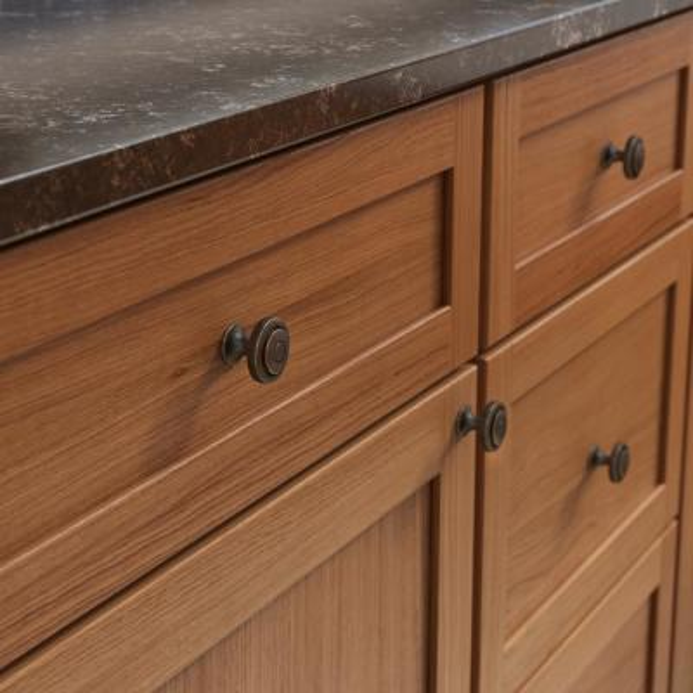 Essentials Geary 1-1/4 in. (32 mm) Warm Chestnut Cabinet Knob (10-Pack)