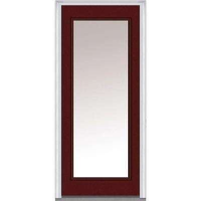 36 in. x 80 in. Left-Hand Inswing Full Lite Clear Classic Painted Fiberglass Smooth Prehung Front Door