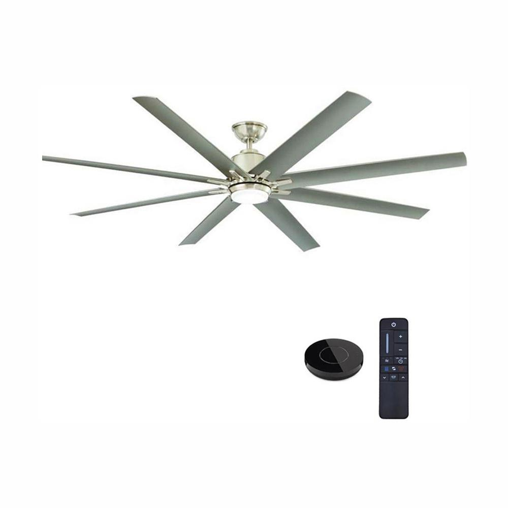 Home Decorators Collection Kensgrove 72 in. LED Indoor/Outdoor Brushed Nickel Ceiling Fan with Light kit Works with Google Assistant and Alexa