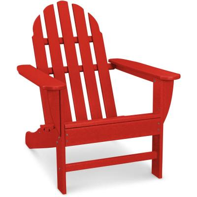 Classic All-Weather Plastic Adirondack Chair in Sunset Red