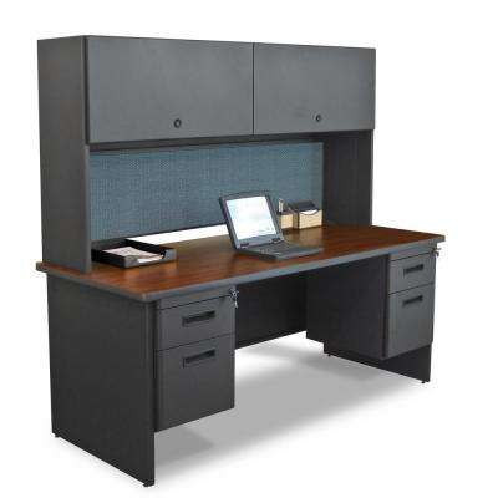 72 in. W x 30 in. D Dark Neutral and Slate 72 in. Double File Desk with Flipper Door Cabinet