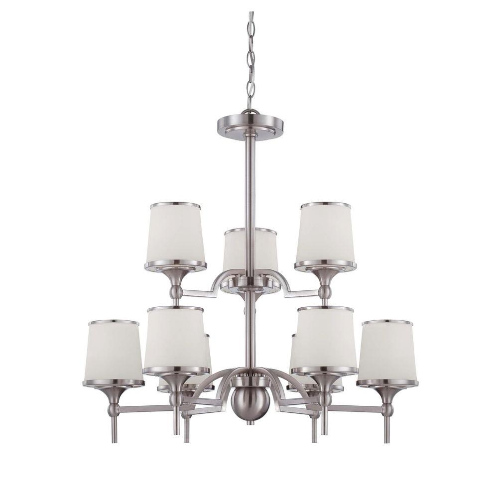 Satin 9-Light Satin Nickel Incandescent Ceiling Chandelier