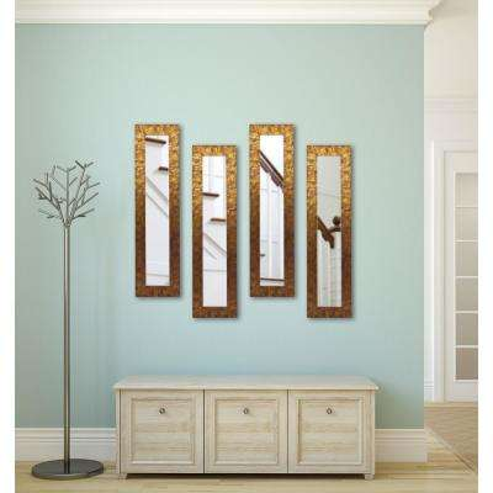 9.5 in. x 27.5 in. Safari Bronze Vanity Mirror (Set of 4-Panels)