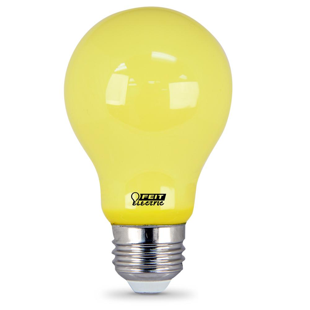 feit electric 60 watt equivalent yellow color a19 led bug light bulb 2 pack a19 bug led 2. Black Bedroom Furniture Sets. Home Design Ideas