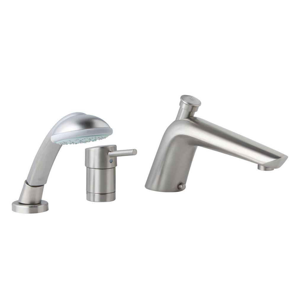 GROHE Essence Single Handle 3 Hole Roman Tub Filler With Hand Shower In  Brushed Nickel