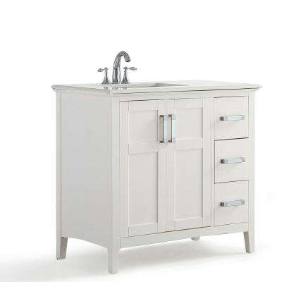 Winston 36 in. W x 22 in. D Bath Vanity in Soft White with Quartz Marble Vanity Top in Bombay White with White Basin