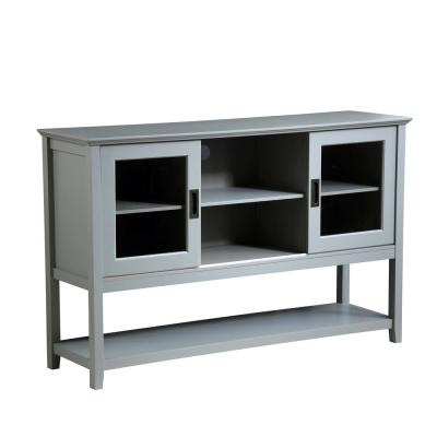 Zoe 55 in. Gray Rectangle Wash MDF TV Stand 60 in. with Storage Doors