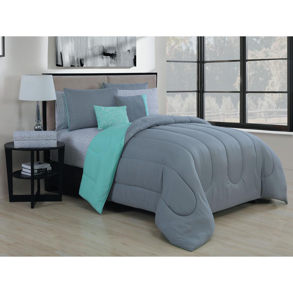 GENEVAHOMEFASHION Geneva Home Fashion 9-Piece Solid Grey/Mint King Bed in a Bag Set