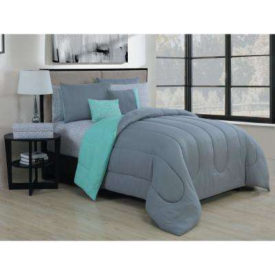 Solid 9-Piece Gray/Mint King Bed in a Bag