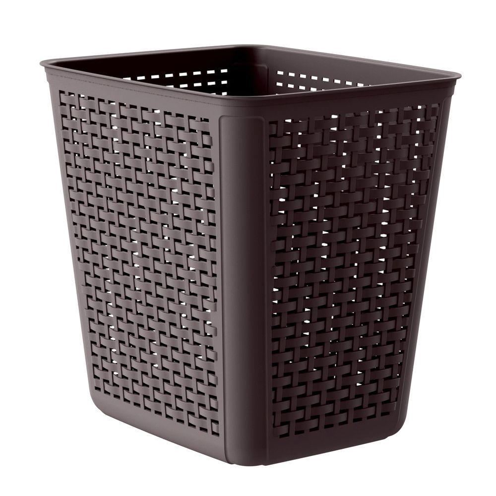 4 Gal. Brown Wicker Wastebasket